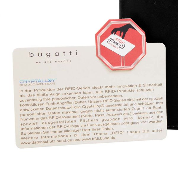 Кожен портфейл Bugatti Romano, RFID, естествена кожа, черен