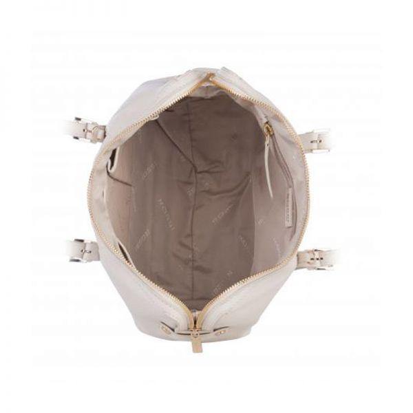 Бяла дамска чанта ROSSI, от естествена кожа