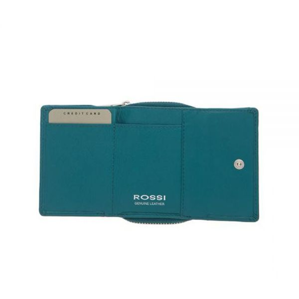 Компактно дамско портмоне ROSSI, небесно синьо