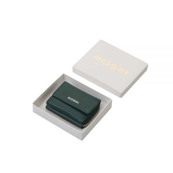 Компактно дамско портмоне ROSSI, тюркоазен цвят