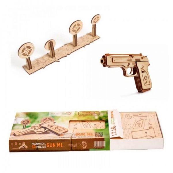 Механичен 3D пъзел Wood Trick - Пистолет, 65 части