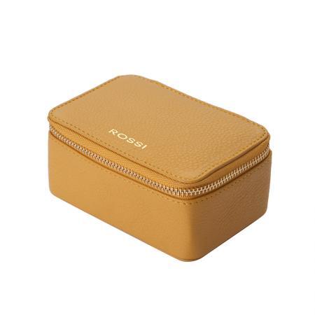 Кутия за бижута Rossi - кожена, жълта