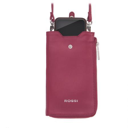 Калъф за смартфон Rossi, тип чанта, с цип, малина