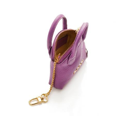 Портмоне ключодържател Rossi - кожено, лилаво