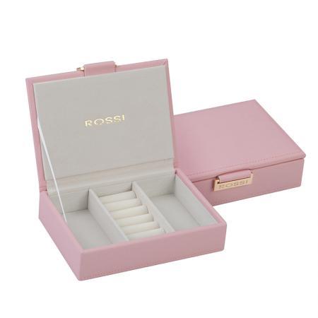 Кутия за бижута Rossi, дърво и еко кожа, бледо розова