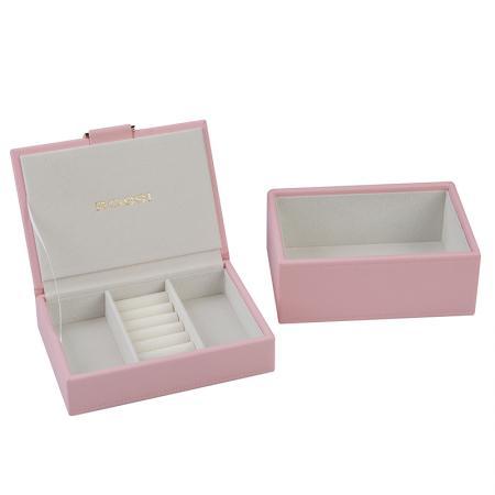 Кутия за бижута Rossi, две нива, дърво и еко кожа, бледо розова