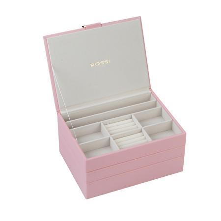 Кутия за бижута Rossi, 3 нива, дърво и еко кожа, бледо розова