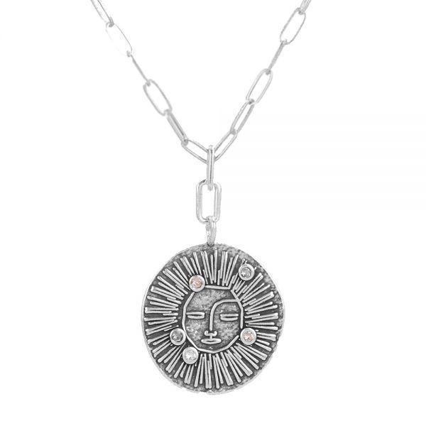 Колие Anekke - Sol, кристали Сваровски, посребрено