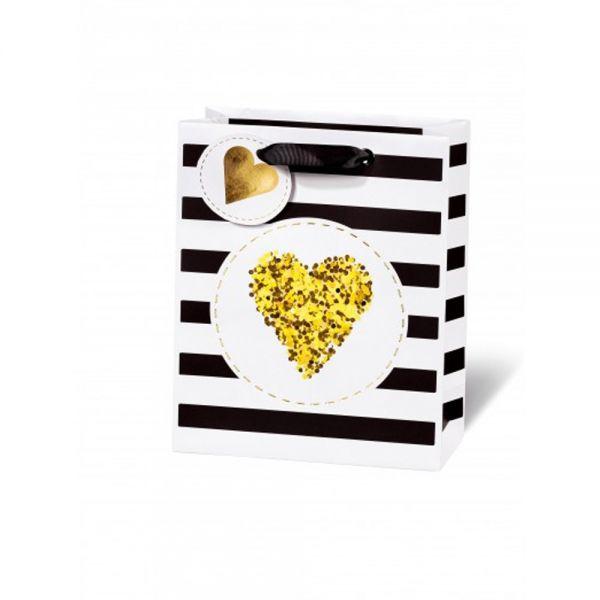 Подаръчен плик GOLDEN GLITTER HEART 23 x 19 x 9 см
