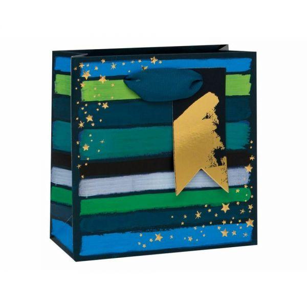 Подаръчно пликче със синьо-зелени нюанси 14 x 14 x 6 см