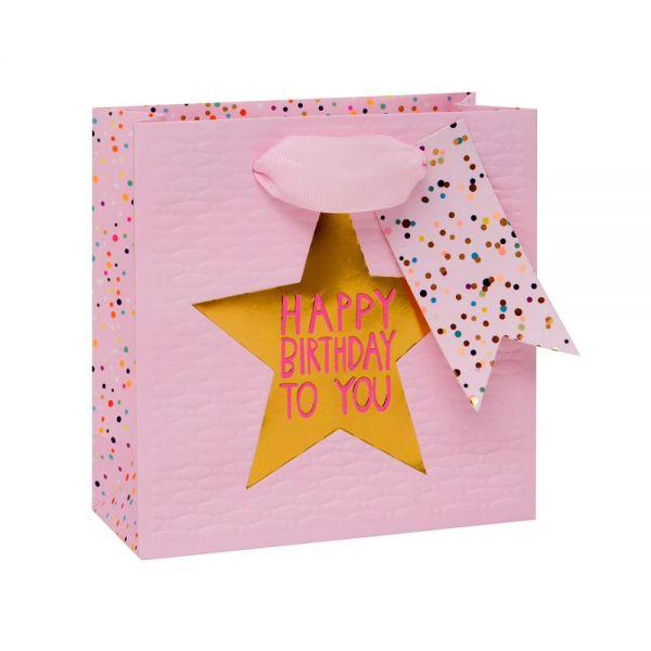 Подаръчно пликче Happy Birthday to you, розово 14 x 14 x 6 см