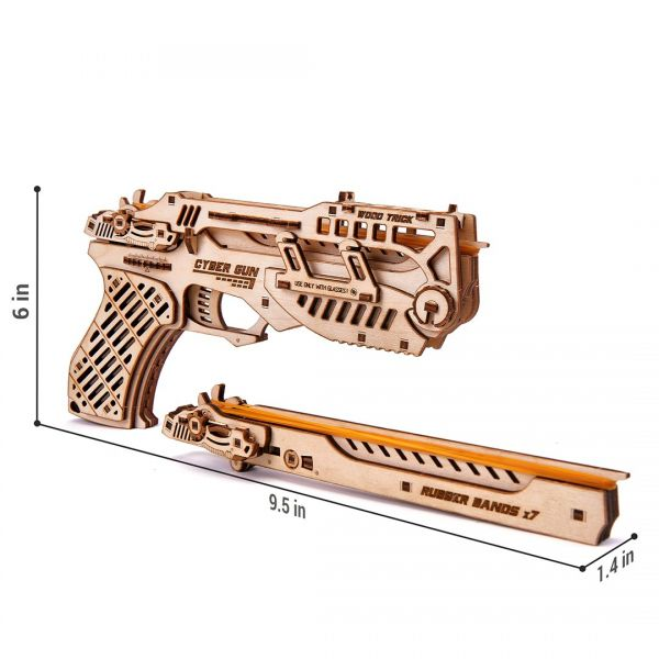 Механичен 3D пъзел Wood Trick - Cyber Gun, 122 части