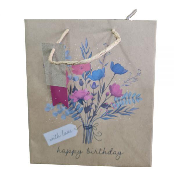 Подаръчно пликче Честит рожден ден - С любов, 25 x 21.5 x 10 см