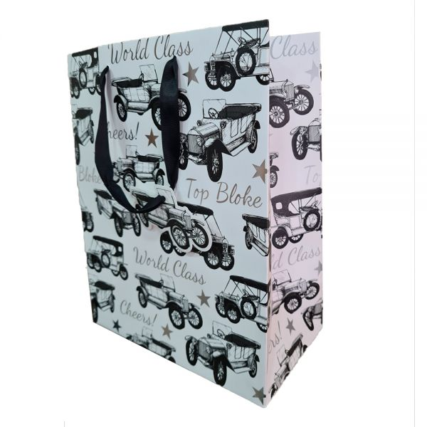 Подаръчно пликче Ретро автомобил, 26.5 x 33 x 14 см