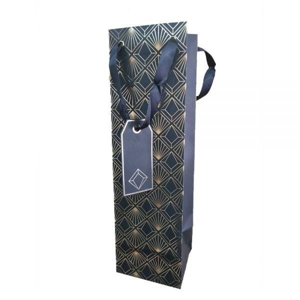 Подаръчно пликче Eurowrap - черно със златни мотиви, 10.5 x 36 x 10 см