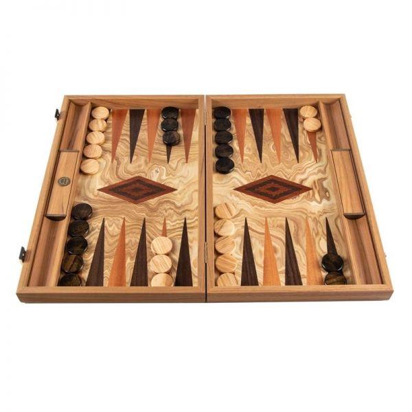 Луксозна табла за игра Manopoulos - Olive Burl, маслиново дърво, 38x23 см