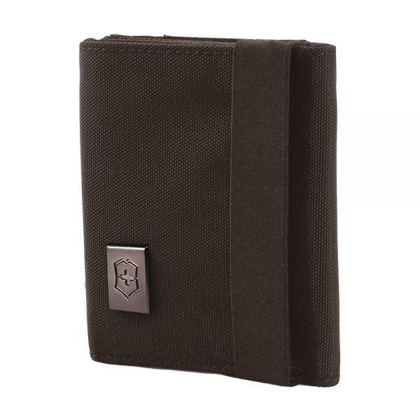 Портфейл Victorinox - Tri-fold, с ластик, черен