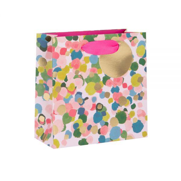 Подаръчно пликче с пъстри елементи 14 x 14 x 6 см