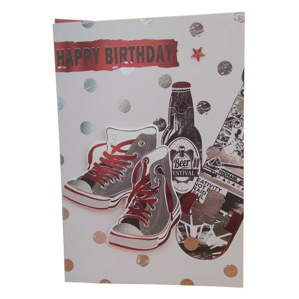 """Поздравителна картичка """"Честит рожден ден"""" - Кецове/скейт, с плик"""
